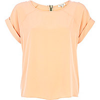 Light orange raglan sleeve woven t-shirt