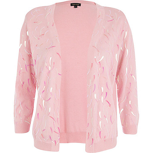 Pink sequin embellished cardigan