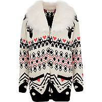 Cream Reindeer fair isle faux fur cardigan