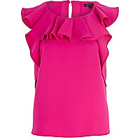 Bright pink ruffle neck top