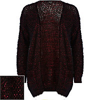 Dark red fluffy lurex cardigan