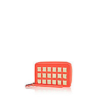 Coral studded zip around purse