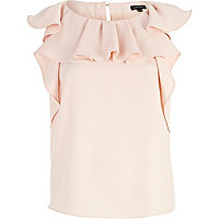 Light pink ruffle sleeveless top