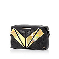 Black metallic panel make up bag