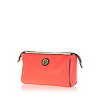 Coral contrast trim wash bag