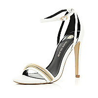 White slinky chain trim barely there sandals