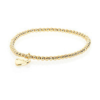 Gold plated wish heart charm bracelet