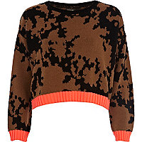 Brown paintball cropped jumper