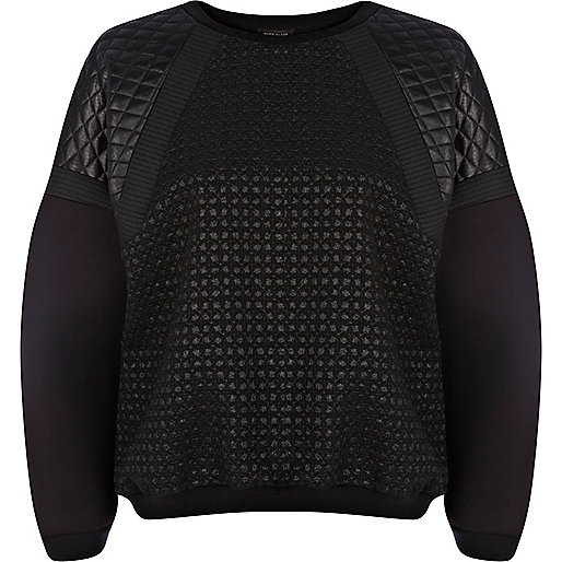 Black contrast panel scuba sweatshirt