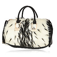 White faux fur bowler bag