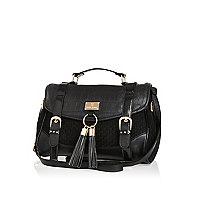 Black textured panel satchel