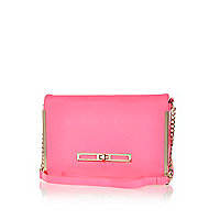 Fluro pink metal trim cross body bag