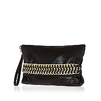 Black curb chain trim clutch bag