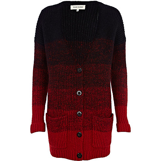 Red brushed wool-blend ombre cardigan