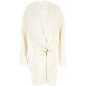 Cream faux fur collar coatigan