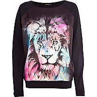 Black lion print satin front dolman top