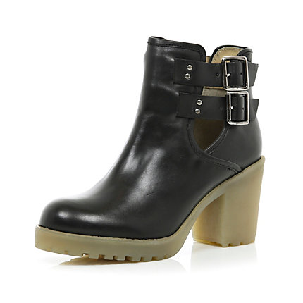 Black cut out crepe heel ankle boots
