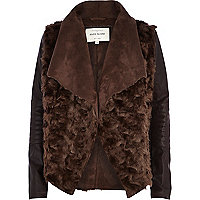 Dark brown faux fur waterfall jacket