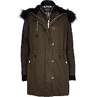Khaki green 2 in 1 parka jacket