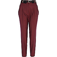Red tiny check high waisted trousers