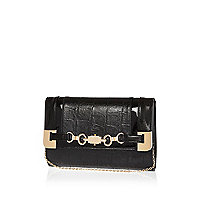 Black snaffle trim clutch bag