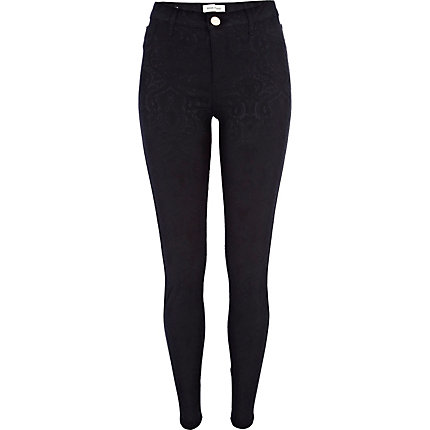 Black jacquard Molly jeggings