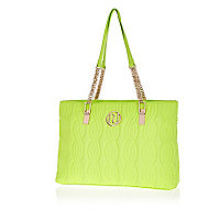 Lime quilted chain strap tote bag