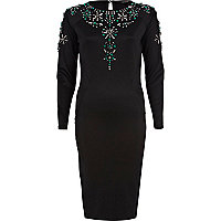 Black embellished bodycon dress