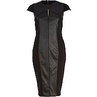 Black leather-look panel cap sleeve dress
