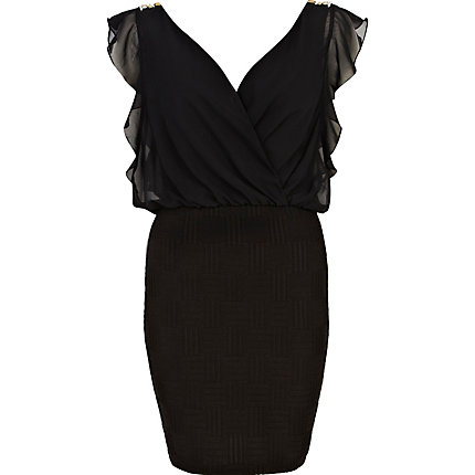 Black frill sleeve 2 in 1 dress