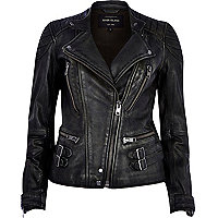 Black leather buckle biker jacket