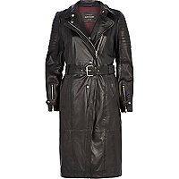 Black leather biker trench coat