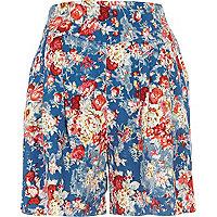 Blue floral print high waisted shorts