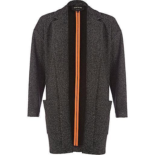 Grey tweed unfastened blazer