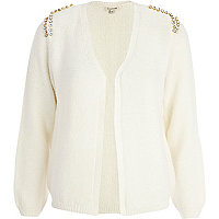 Cream embellished shoulder cardigan
