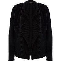 Black faux fur panel waterfall cardigan