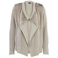 Grey faux fur panel waterfall cardigan