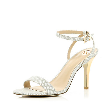 White snake barely there sandals