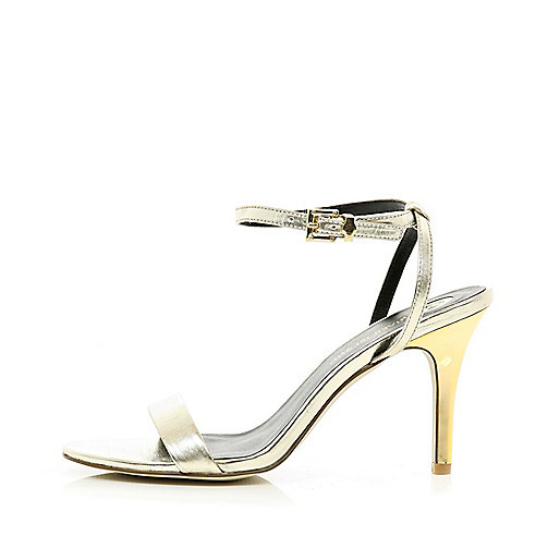 Gold barely there sandals