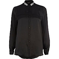 Black jewel collar shirt