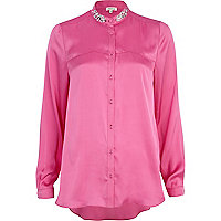 Pink embellished collar shirt