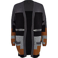 Grey angora-blend colour block cardigan