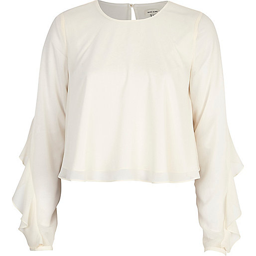 Cream chiffon frill sleeve top