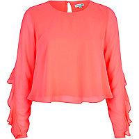 Bright pink chiffon frill sleeve top