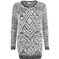 Black eyelash geometric pattern tunic