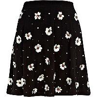 Black 3D sequin flower embellished skirt