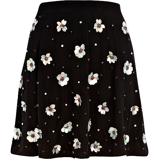 Black 3D sequin flower embellished skirt