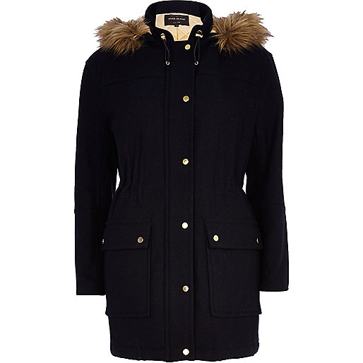 Navy smart wool-blend parka jacket