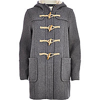 Grey wool-blend duffle coat