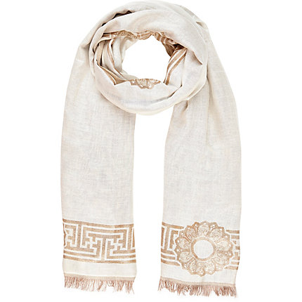 Cream lurex border jacquard scarf